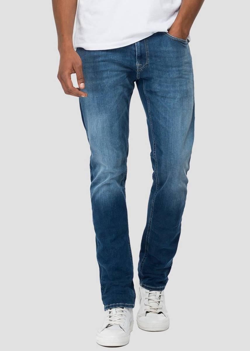 REPLAY - Anbass Hyperflex Jeans 34 Re-used Mid Blue M914Y RI12